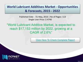 World Lubricant Additives Market Analysis & Market Trends 2022