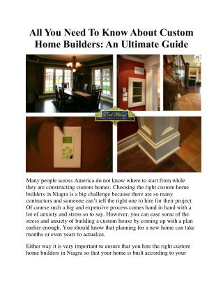 All You Need To Know About Custom Home Builders: An Ultimate Guide
