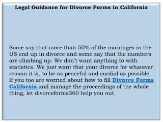 Divorce forms California  | Divorce Forms 360
