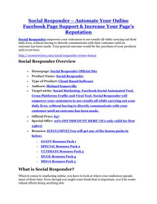 Social Responder review and (SECRET) $13600 bonus