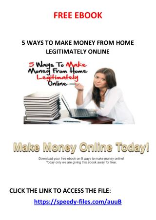 5 ways to make money legitimately