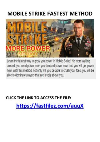 mobile strike fastest method