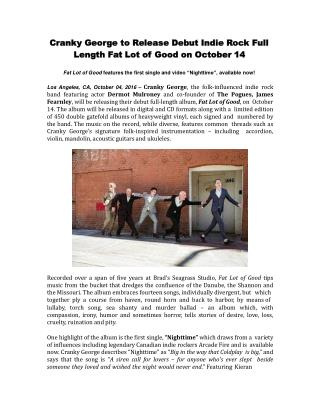 Cranky George to Release Debut Indie Rock Full Length Fat Lot of Good on October 14