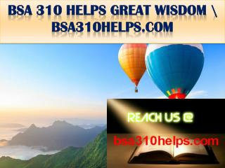 BSA 310 HELPS GREAT WISDOM \ bsa310helps.com