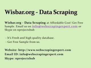 Wisbar.org - Data Scraping