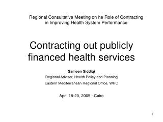 Contracting out publicly financed health services