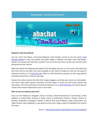 Malaysian Tamil Chat Website   aahachat.org