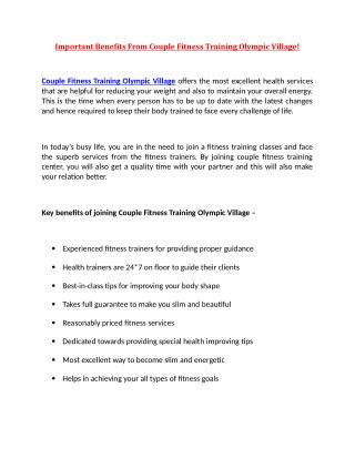 Important Benefits From Couple Fitness Training Olympic Village!