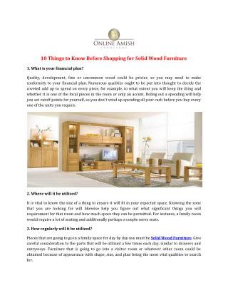 10 Things to Know Before Shopping for Solid Wood Furniture