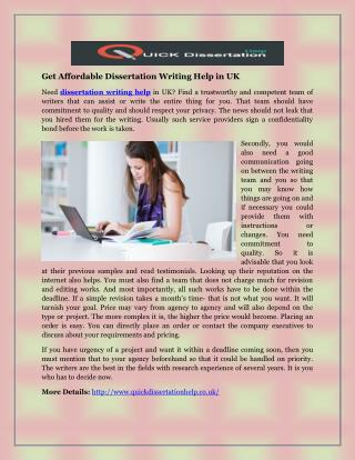 Get Affordable Dissertation Writing Help in UK