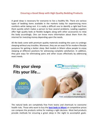 Ensuring a Good Sleep With High Quality Bedding Products