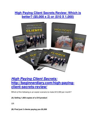 High Paying Client Secrets Review and High Paying Client Secrets (EXCLUSIVE) bonuses pack