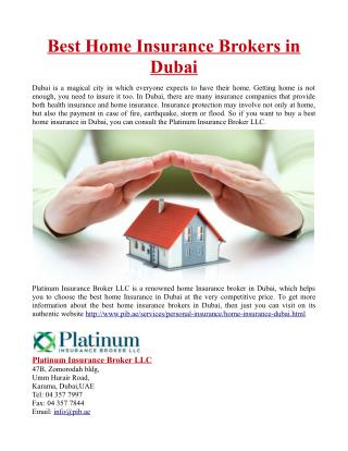 Best Home Insurance Brokers in Dubai