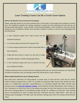 Laser Training Course Can Be a Good Career Option