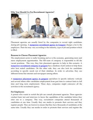 Why You Should Go For Recruitment Agencies?