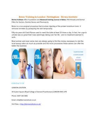 Botox Training in London | Nottingham - Derma Institute