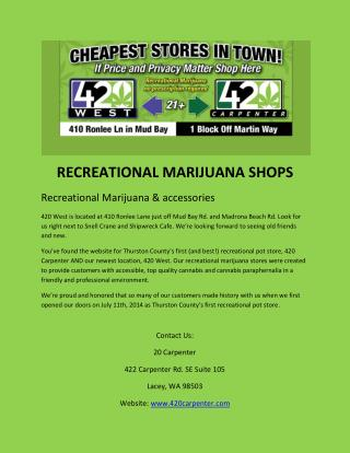 Recreational Marijuana Shops