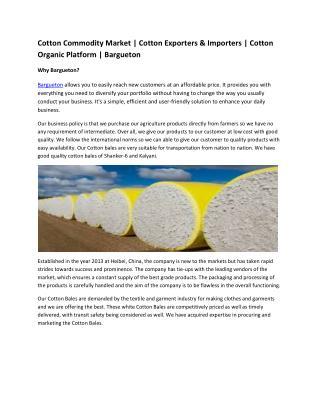 Cotton Commodity Market | Cotton Exporters & Importers | Cotton Organic Platform | Bargueton