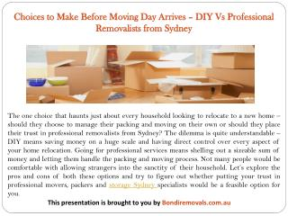 Choices to Make Before Moving Day Arrives – DIY Vs Professional Removalists from Sydney