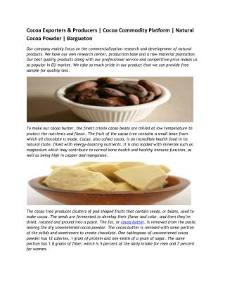 Cocoa Exporters & Producers | Cocoa Commodity Platform | Natural Cocoa Powder | Bargueton
