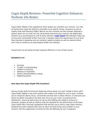 Cogni Depth Reviews- Powerful Cognitive Enhancer, Perform 10x Better