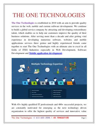 The One Technologies - Web design and Development Company