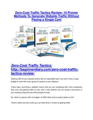 Zero-Cost Traffic Tactics review and Exclusive $26,400 Bonus