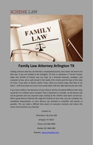 Family Law Attorney Arlington TX