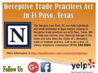 Deceptive Trade Practices Act in El Paso, Texas