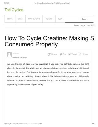 How To Cycle Creatine: Making Sure That It Is Consumed Properly