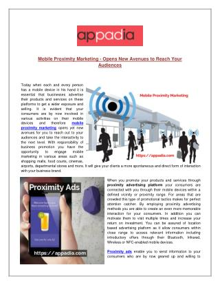 Mobile Proximity Marketing