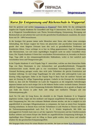 Kurse für Entspannung und Rückenschule in Wuppertal