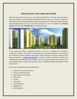 Owning a home in the capital city of delhi