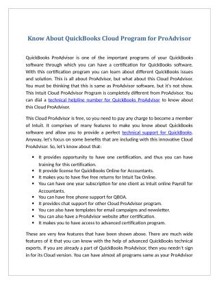 Know About QuickBooks Cloud Program for ProAdvisor