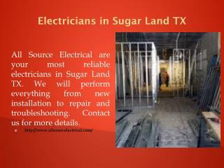Electricians in Sugar Land TX