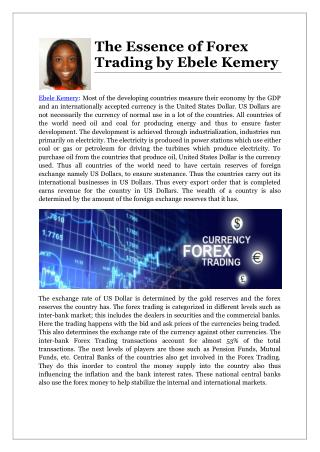 The Essence of Forex Trading by Ebele Kemery