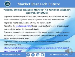 Global Renal dialysis Market Research Report- Forecast To 2027