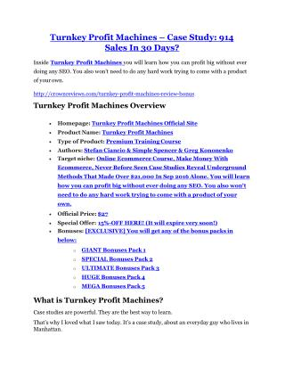 Turnkey Profit Machines review in detail – Turnkey Profit Machines Massive bonus