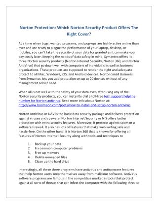 Norton Protection: Which Norton Security Product Offers The Right Cover?