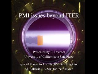 PMI issues beyond ITER