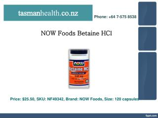 tasmanhealth.co.nz | NOW Foods Betaine HCl