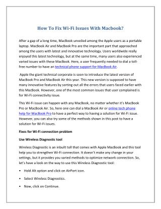 How To Fix Wi-Fi Issues With Macbook?