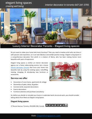 Luxury Interior Decorator Toronto – Elegant living spaces