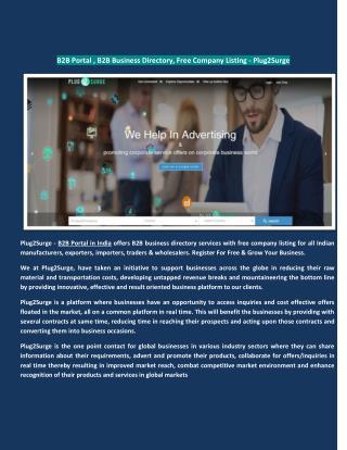 B2B Portal , B2B Business Directory, Free Company Listing - Plug2Surge