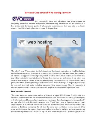 Pros and Cons of Cloud Web Hosting Provider
