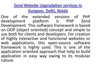 Zend Website Upgradation services in Gurgaon, Delhi, Noida