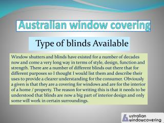 Awc type of blinds