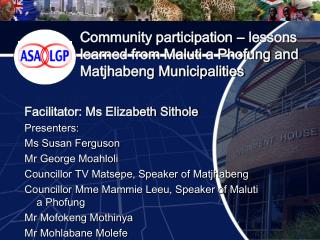 Community participation   lessons learned from Maluti a Phofung and Matjhabeng Municipalities