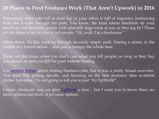 20 Places to Find Freelance Work (That Aren't Upwork) in 2016