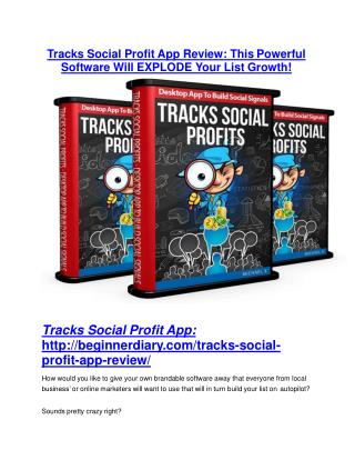Tracks Social Profit App Detail Review and Tracks Social Profit App $22,700 Bonus